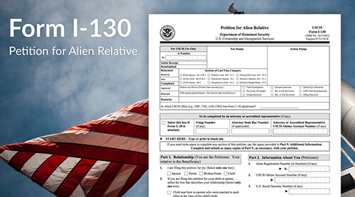 I-130 form for marriage based Green Card in the USA